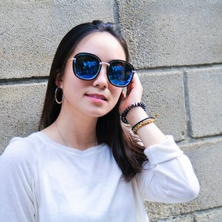 Sunglasses│Polarized│Big Round Sunglasses│Blue Lens│UV400 Protection MauiB
