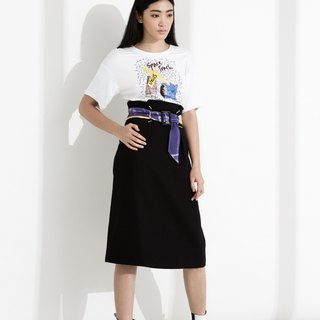 CLLECTION1 ~ SPACE TRASH printing belt waist A word skirt