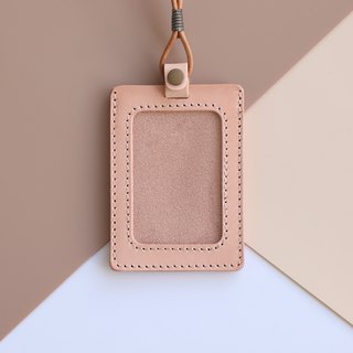 Double-layer vegetable tanned leather identification card set - with original leather neck rope / can be added lettering | original color straight