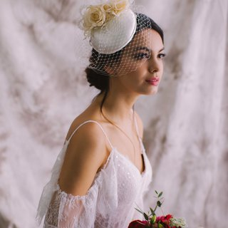 Millinery Bridal headpiece cocktail hat with birdcage veil