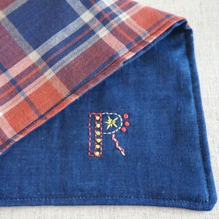 "Hand embroidered quadruple gauze handkerchief  ""initial/R""[order-receiving production]"