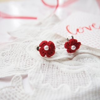Custom French rose red lace hand-woven flower clip earrings BE054