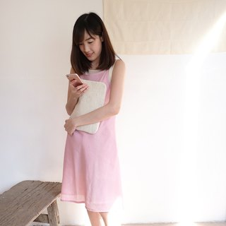 Natural Dyed Thai Saloo Cotton Knee Length Dresses Pink Color