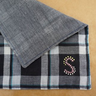 "Hand embroidered quadruple gauze handkerchief ""initial/S"""