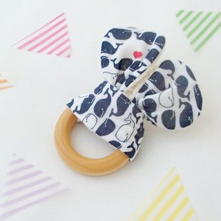 Wooden Teething Ring.Organic Wooden Ring,Handmade,Sensory Toy,Natural Maple Wood,Navy Whale on White,Boy,Girl