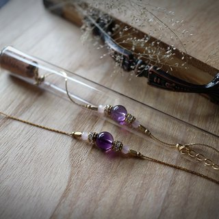 Muse Fashion series NO.5 Mother's Day natural stone purple amethyst bracelet brass tube