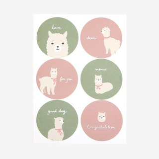 Round message sticker -02 alpaca, E2D00106