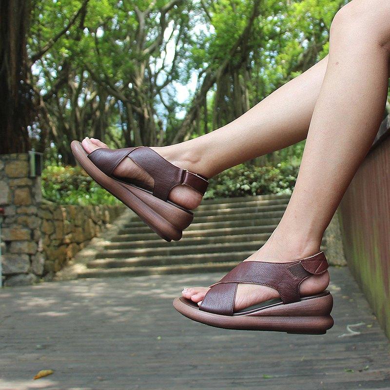2020夏季新款坡跟厚底魔術貼復古防滑漏指涼鞋 材料充足 按時發貨