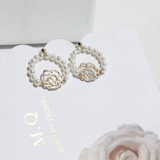 MissQueeny rose natural pearl earrings circle