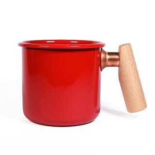 Wooden handle cup 400ml (apple red)