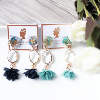 Eternal Flower Series - Floral Tassel Earrings / Ear Clips
