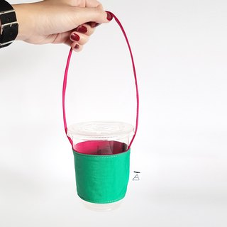 Double-sided hit color series environmental beverage cup / red with green
