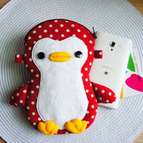 Lovely Graduation Penguin Mobile Phone Bag, Dotted Red
