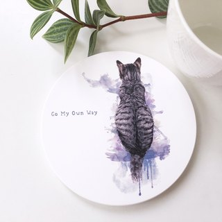 Animal illustration ceramic absorbent coaster [Go My Own Way]