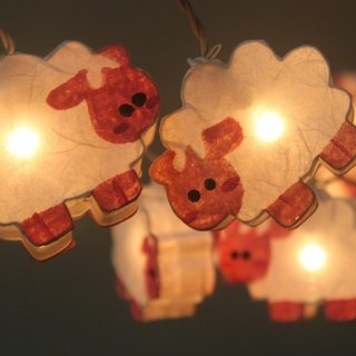 20 LED Battery Powered Sheep Paper Lantern String Lights for Home Decoration Wedding Party Bedroom Patio and Decoration
