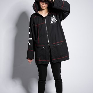 Dark mysterious symbol hooded thin coat black