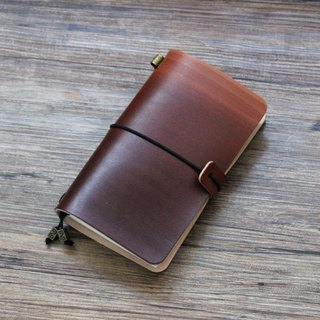 Dark brown gradient dyed handbook leather notebook diary TN travel book creative gifts can be customized