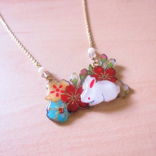 Floral bunny fun // 2nd use Accessories / Accessories Cloth / pair of small white rabbit necklace hand-made