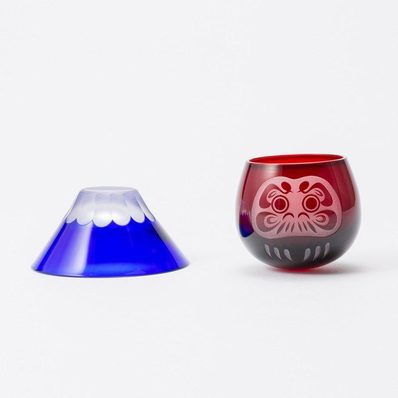 富士山、達摩清酒杯 玻璃杯-兩件組