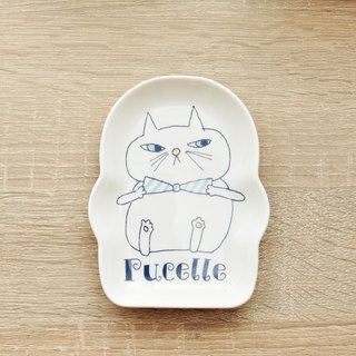 [Kato Masaharu] Bonne nuit Goodnight Series Styling Dish | Pucelle Blue Bow Tie Cat