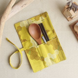 【Min Mang Christmas】 weimom's yellow grain line body - pencil case, chopsticks set, green tableware bag, cloth roll ● Made in Taiwan - hand made good