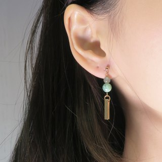 OUD Original- Jadeite Beads-Burma Jade-14K gf Bar Cylinder Drop Earring/ Clip-on
