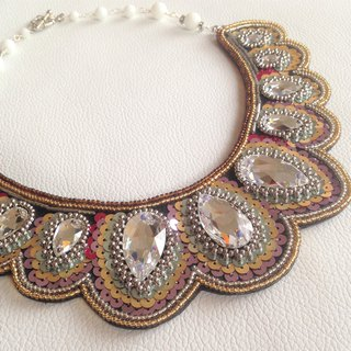 [Beads embroidery] Swarovski replacement collar-style necklace