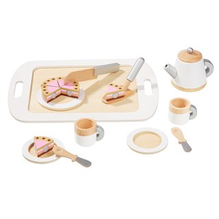 The dessert-controlled afternoon tea party started. Wooden afternoon tea accessories set