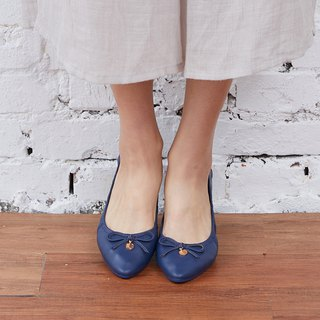 [Bob Step] bow gold leather buckle ballet shoes _ dark blue sky