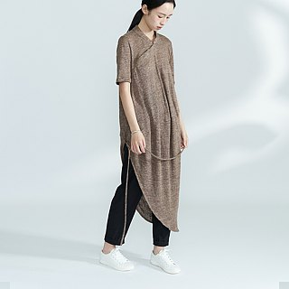 BUFU soft linen asymmetry Chinese-dress D180114
