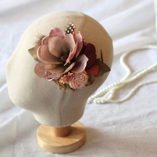 Hair Accessories / Hair Clips 【Dry Flower & Artificial Flower Series】Pink Classic Style (Small)