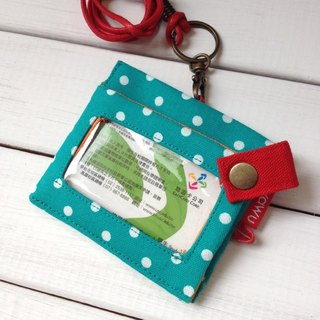ID Holder Keychain Wallet (blue-green dot cloth) Gold Wallet