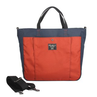 Blue matching orange handheld poly-canvas bag