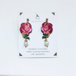 Humming|embroidery earrings-peony