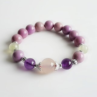 Purple mica stone amethyst jade with grape stone 925 sterling silver • Bracelet