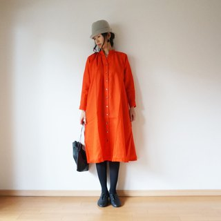 Linen One piece coat ladies RED(ORANGE)