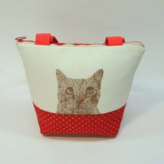 Embroidery small cat tote bag 04-