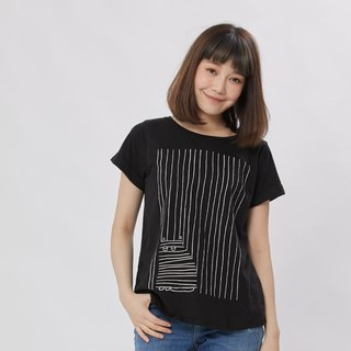 Hide and sick square sleeve wide T-shirt