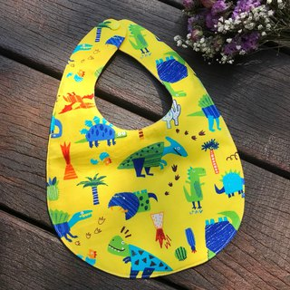 Boys love dinosaurs <yellow> double side bibs