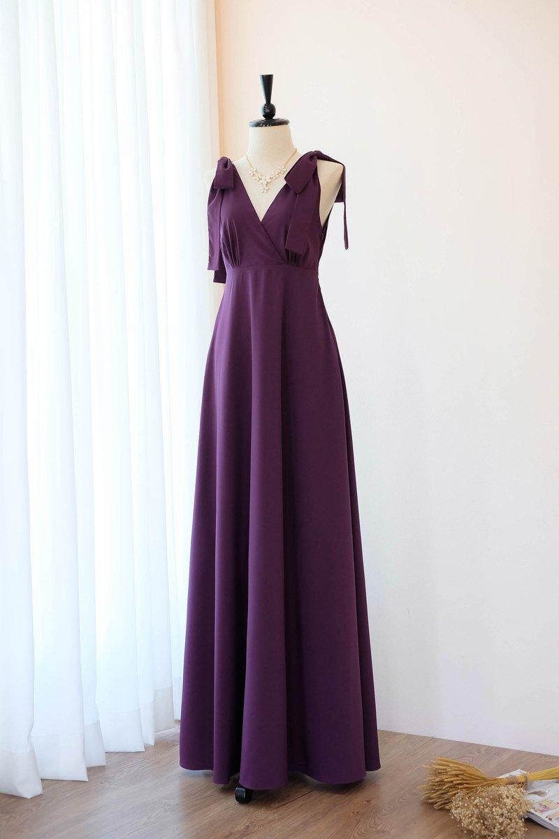 紫色梅花禮服婚禮新娘禮服伴娘禮服長方雞尾酒
