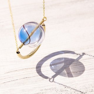 / Geometric wind / French striped mouth-blown glass necklace short chain ossicular chain length - Blue universe planet star