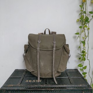 Federal German Defence Forces - Mountain Forces Backpack (canvas + leather + metal buckle)
