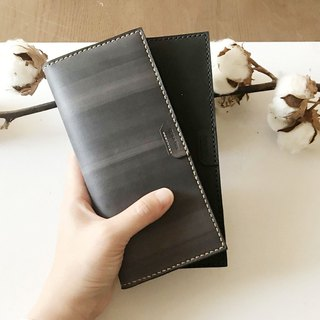 Leather long clip _8 card layer_2 banknote layer _Long wallet