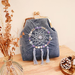 Handmade Embroidery Floral Dreamcatcher Bag (Velvet) | Blue