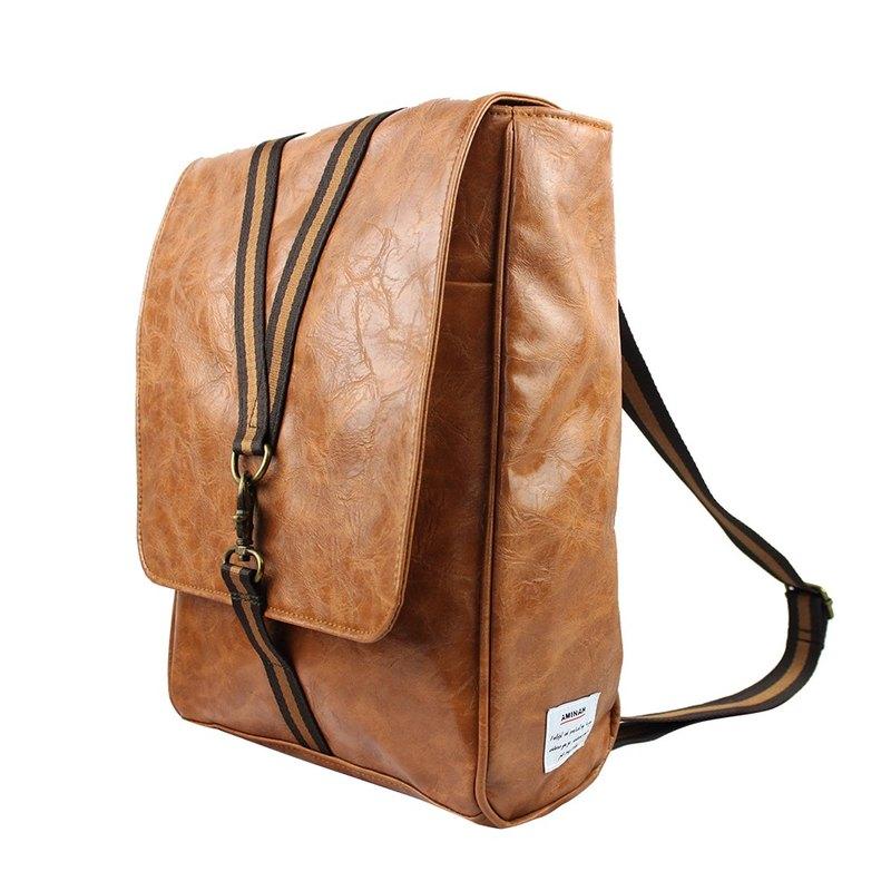 AMINAH-棕色鉤扣兩用後背包【am-0297】
