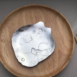 Fat cat handmade tin dish