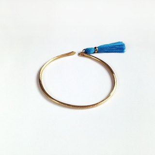 [ Blue Feet ] hand-made brass tassel blue tassel temperament three bracelets