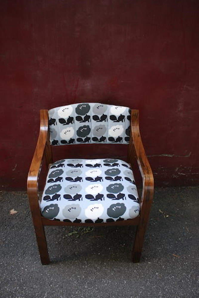 Old chair gray blue large flower armchair