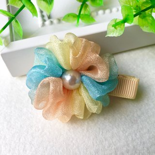 Symphony pearl yarn small flower bangs hairpin / yellow green