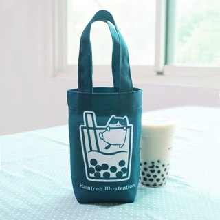 Chubby cat love Zhen milk anti-splash cloth drink bag universal small bag blue green with packaging